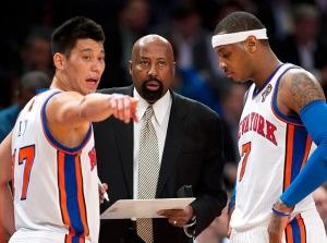 Jeremy Lin, Mike Woodson, Carmelo Anthony