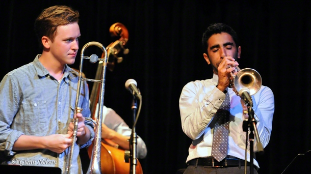 Andy Clausen (left) looks on as Riley Mulherkar takes a solo on trumpet at the Royal Room.