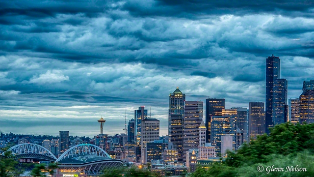 Downtown Seattle, with a storm looming, from Beacon Hill.