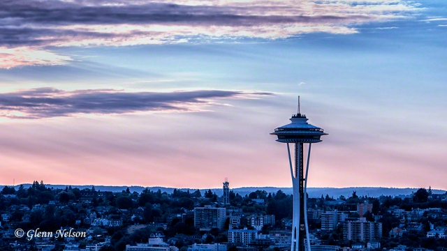 The Space Needle, seen nestled in its neighborhood.