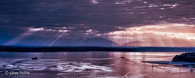 Sunset on Elliott Bay in Seattle.