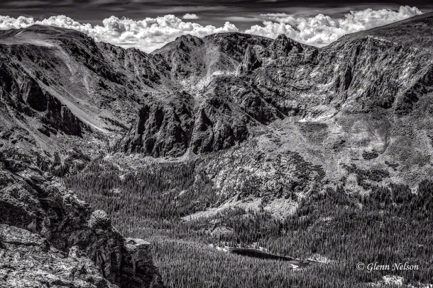 L-R: Stones Peak, Sprague Mtn., Hayden Spire, Mt. Terra Toma, Hayden Gorge and Forest Lake.
