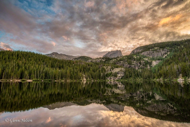 Sunset over Hallet's Peak and Bear Lake in Rocky Mountain National Park.