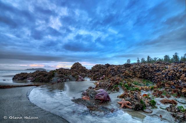 A bit after sunset on Chesterman Beach, near the Wickaninnish Inn.
