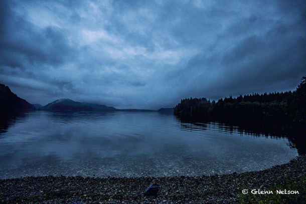Sunrise at a very gray Grice Bay in Pacific Rim National Park.
