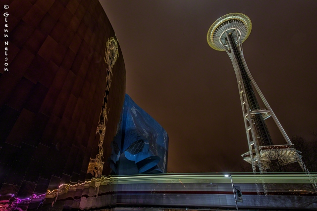 The Space Needle and the Monorail reflect on the EMP.