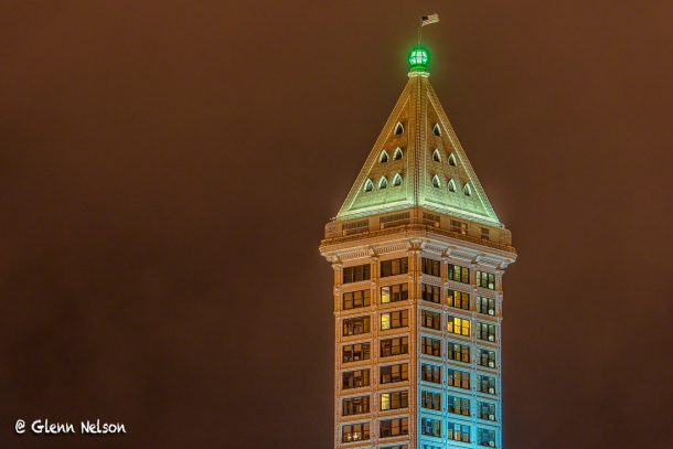 Smith Tower shows its Hawk pride.