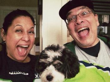 Florangela, Santana and me on game day.