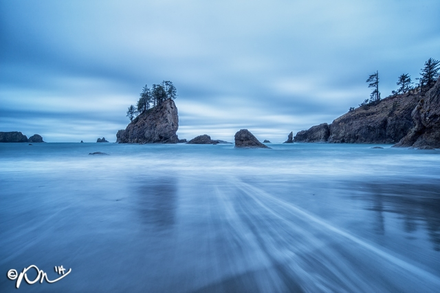 Second Beach in Olympic National Park during the blue hour.