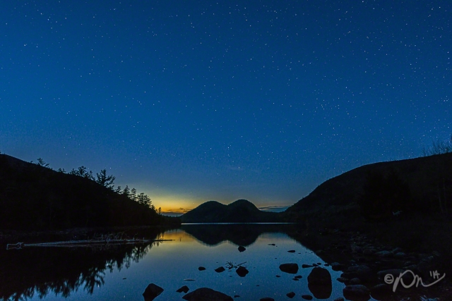 Stars over Jordan Pond, serenaded by loons and coyotes.