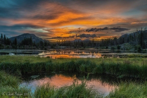 Sunrise at Sprague Lake in Rocky Mountain National Park.
