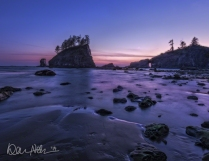 JANUARY: Twilight at Second Beach in Olympic National Park.