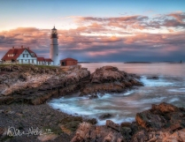 MAY: Sunset at the Portland Light House in Cape Elizabeth, Maine.
