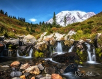 OCTOBER: Mount Rainier looms over Edith Creek on a gorgeous fall day in Mount Rainier National Park.