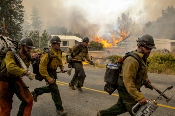 Firefighters flee as the Twisp River fire advances unexpectedly near Twisp, Washington, August 20, 2015.  (Reuters/David Ryder)